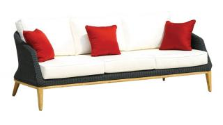 Westminster Code GRA302. A woven garden settee in black with teak legs & cushions.
