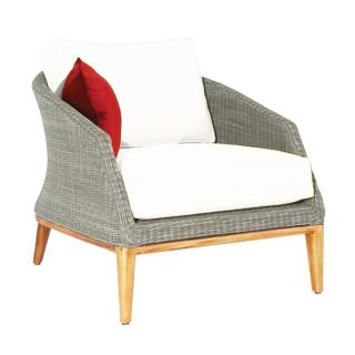 Westminster Code GRA104. A woven armchair in platinum grey with teak legs & seat & back cushions.