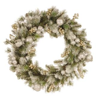 This artificial Christmas wreath is a glittering mix of silver pomegranates & champagne berries with frosty white tipped branches.