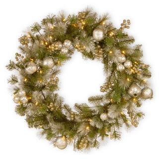 This battery operated LED artificial Christmas wreath is a stunning mix of glittering silver pomegranates & champagne berries with frosty white tipped branches.