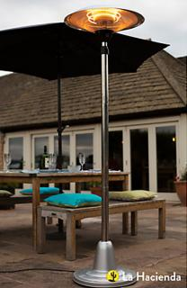 The Standing Halogen Heater will give out 1500w of heat for you to enjoy the cool summer evenings. La Hacienda 69505.