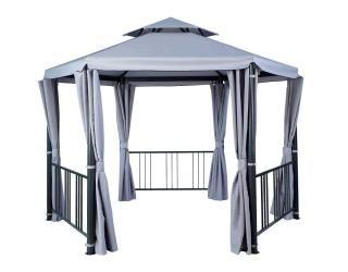 This hexagonal gazebo has an aluminium frame & curtains in grey.