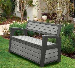This waterproof bench in grey doubles up as a storage box, ideal for storing cushions, garden and pool supplies.