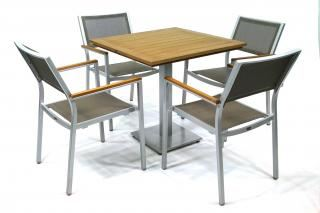 Supremo Melbourne Sling 4-Chair with Resysta Bistro Table Set