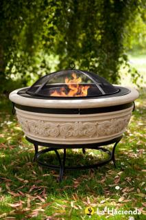 The Carved Scroll Firepit would be suitable for a large garden or patio. La Hacienda 58174.