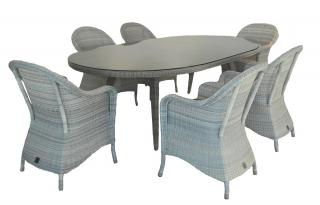 A larger sized Hularo dining set for 6 in a light Provance weave with all weather seat cushions.