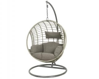 While away the hours in this attractive grey cocoon chair with comfy grey cushions.