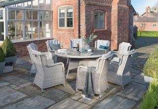 This LIFE Outdoor Living King dining set for eight combines resin weave in Yacht Grey with Mouse Grey all weather cushions.