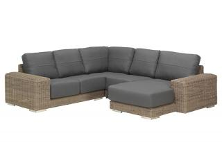 4 Seasons Outdoor Kingston Modular Chaise 5 Seat Set in Pure