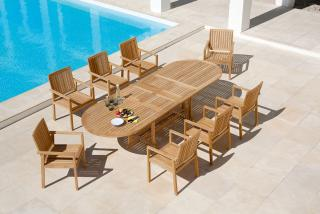 Barlow Tyrie Stirling 230cm Extending Teak Dining Set for Eight