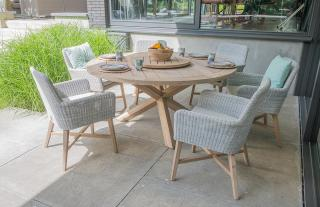 4 Seasons Outdoor Lisboa 6 Seat Louvre Dining Set in Polyloom Ice