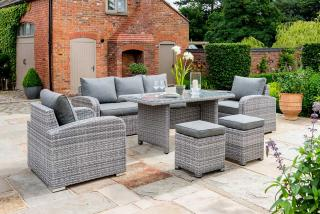 A grey lounge set for seven which will allow you to relax in your garden or patio.