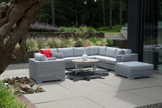 This eye-catching & versatile modular set comes with thick all weather cushions in Manchester Grey.