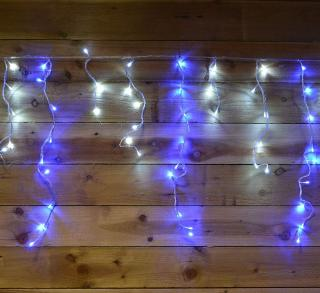 480 Indoor or Outdoor Blue & White Snowing Icicle LED Timer Light Set