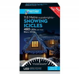 These snowing icicle lights have multi-action settings to make the snowing action faster & a 8 hour on & 16 hour off timer.