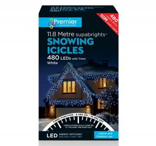 240 Indoor or Outdoor White Snowing Icicle LED Timer Light Set