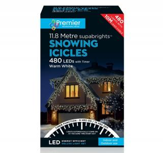 These warm white snowing icicle lights have multi-action settings to make the snowing action faster & a 8 hour on & 16 hour off timer.