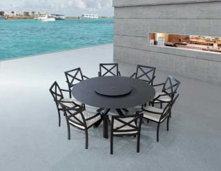 This round aluminium garden set is great for entertaining & comes with a choice of cushion colours.
