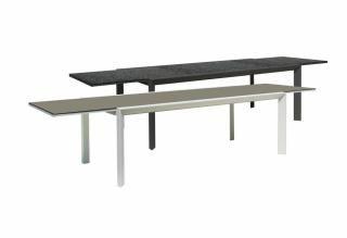 Rectangular extending aluminium garden table with a pebble glass top in a choice of colours.