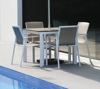 This square aluminium garden set is ideal for a small patio & comes in a choice of colours.
