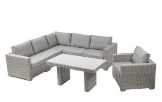 This modular set comes in Yacht Grey weave with Mouse Grey all weather cushions.