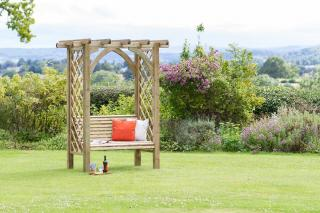 The beautifully structured Meridian Pergola Seat is the perfect stress release for sitting back and relaxing within the garden.
