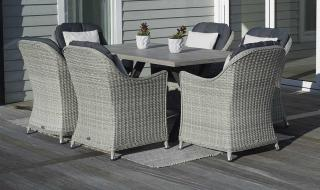 The stylish Monterey 155cm Rectangular Dining Suite for Six is an absolute joy for entertaining within the garden.