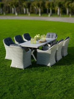 The stylish Monterey 215cm Rectangular Dining Suite for Eight is absolutely  stunning for entertaining within the garden.