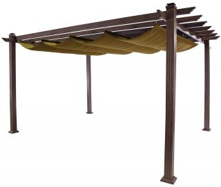 This stunning square pergola comes complete with a canopy and in a choice of 3 colours.