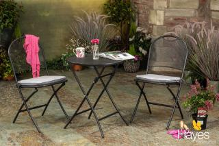 The versatile Kettler Caffe Napoli Bistro Set comes with seat pads in Silver Check & folds away for easy storage.