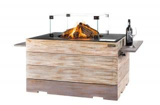 This large gas fire pit with teak surround will bring the warmth of a gas fire to your garden or patio.