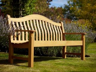 A hardwood 3 seater garden bench made from acacia.
