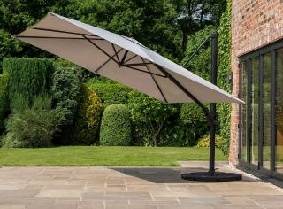 Norfolk Leisure 3m Square Deluxe Cantilever Parasol in Taupe & Parasol Base Offer