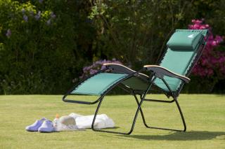 The Suncoast relaxer chair is available in Padded Green. It is also known as a zero gravity chair as it is effortless to recline it and it can be fixed in any position.
