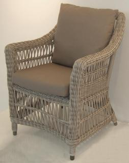 An comfortable Hularo Weave armchair in natural with all weather cushions.