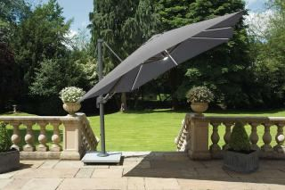 3m Square Palermo LED Cantilever Parasol in Carbon
