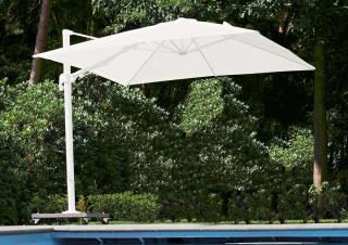 This parasol special offer includes a cantilever parasol with white frame, LED lights, 90kg wheeled base & protective cover.