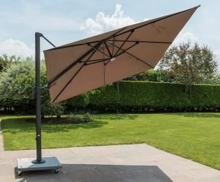 Norfolk Leisure 3m Square Palermo LED Cantilever Parasol Tilted