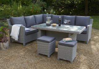 This modular set comes in a right hand configuration with light grey resin weave & high dining table.