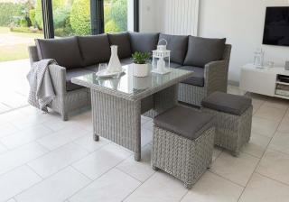 This set is a smaller version of the corner set & comes in a light resin weave with smaller dining table.