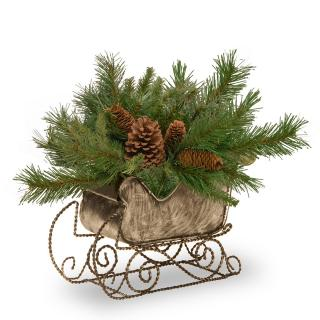 Pine Cone Artificial Christmas Sleigh