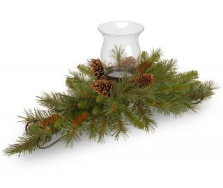 This artificial Christmas centrepiece will hold a pillar candle & is decorated with cones.