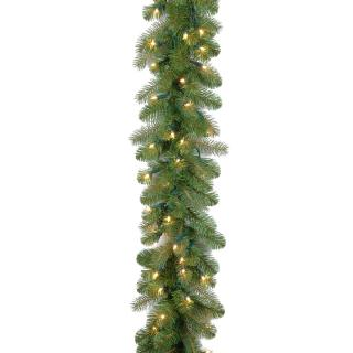 Our Feel-Real artificial Christmas garland has 100 battery operated lights with a timer.