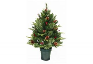 This Feel-Real 3ft PE/PVC mix artificial Christmas tree is decorated with berries & cones & comes in a plastic pot.