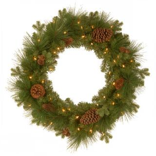 This artificial Christmas wreath has a simple design with battery operated LED lights & pine cones.