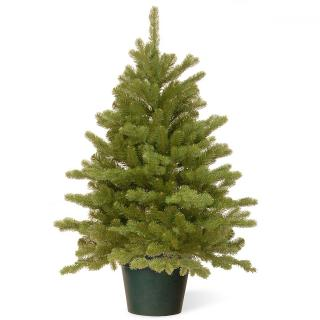 This Feel-Real PE/PVC mix artificial Christmas tree is one of our fullest 4ft trees & comes in a pot for display.