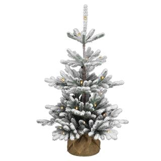 This snowy Feel-Real PE/PVC mix artificial Christmas tree comes ready with battery operated LED lights & a hessian base for display.