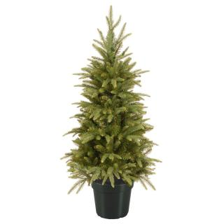 This Feel-Real PE/PVC mix artificial Christmas tree has a natural weeping look & comes ready potted for display.