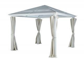 This square gazebo has an aluminium frame & polycarbonate roof & comes in a choice of two colours.