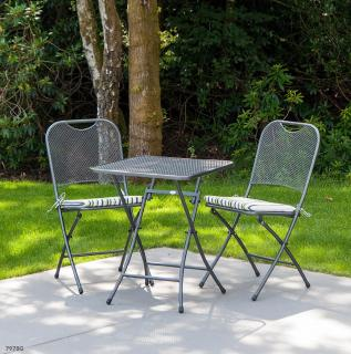 Alexander code 7978. This powder coated, steel & wire mesh set would be ideal for a sunny corner & comes with seat cushions in a choice of colours.